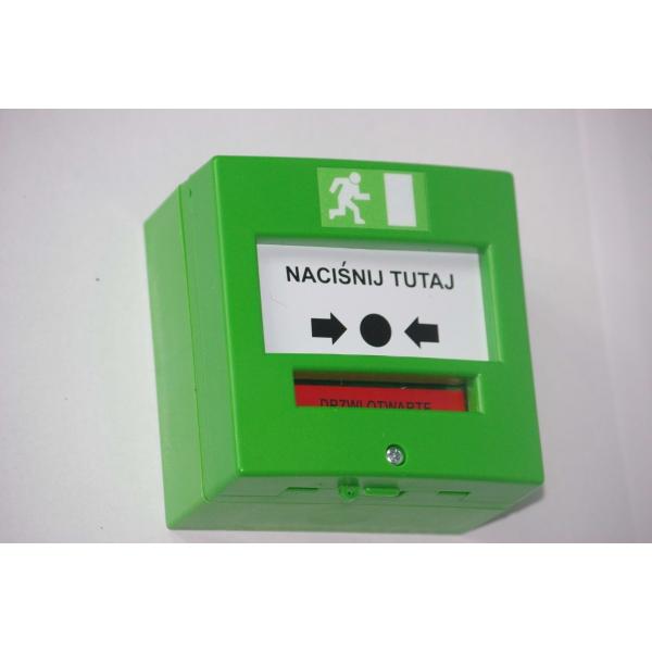 Przycisk wyjścia ewakuacyjny zielony dwustykowy NO/NC