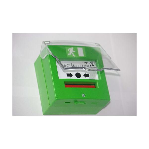 Przycisk wyjścia ewakuacyjny zielony jednostykowy NO/NC szczelny z osłonką