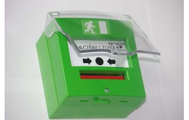 4713VDC hermetyczny przycisk, 1 stykowy awaryjnego otwarcia drzwi, IP65, zielony + osłonka