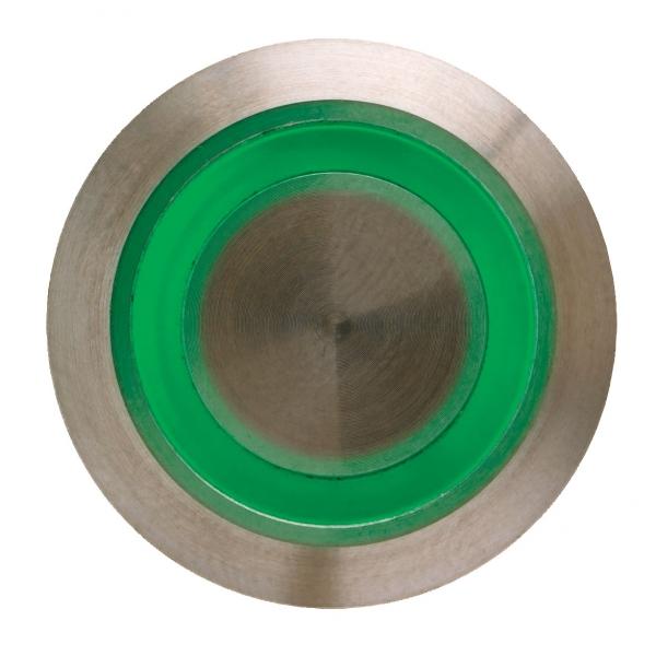 BOPO-P-G sam przycisk zewnętrzny, podświetlenie ZIELONE, IP65, 2 stykowy INOX