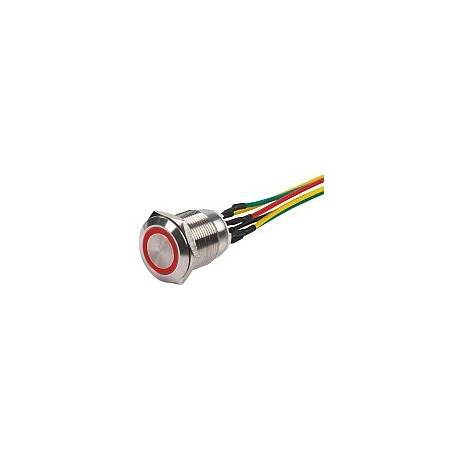 BOPO-PP-R sam przycisk zewnętrzny, podświetlenie CZERWONE, INOX, końcówki kablowe